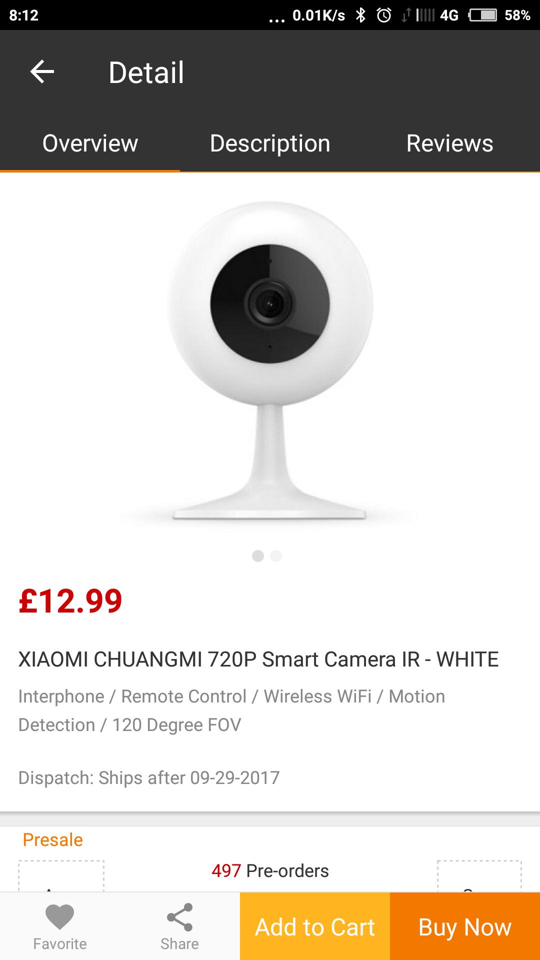 Xiaomi chuangmi IP camera £12.99 at gearbest