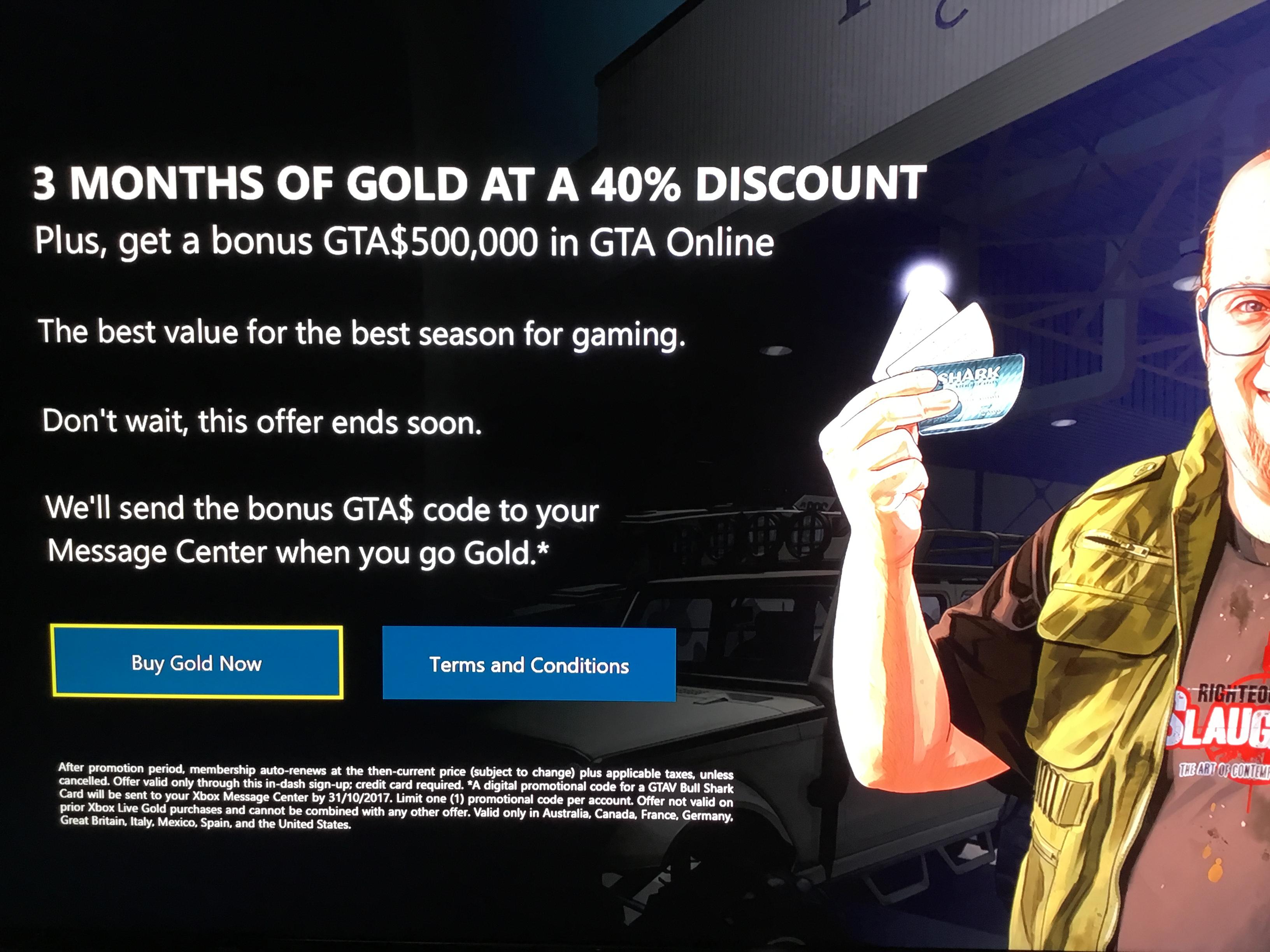Xbox Live 3 month plus GTA$500,000 cash £8.99 Xbox dashboard