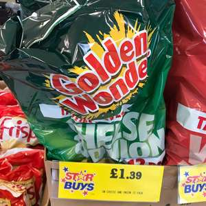 Golden Wonder 12 pack Cheese and Onion £1.39 in Home Bargains