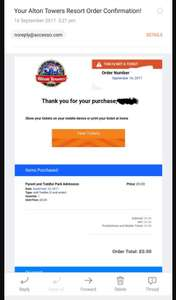 Alton towers Parent & Toddler tickets Free