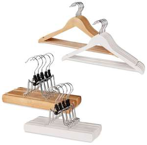 Set of wooden coats/trousers hangers - £2.99 delivered @ ALDI