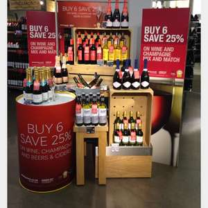 Marks and Spencer's wine deal, buy 6 bottles and save 25% and buy 3 bottles save 20% instore only