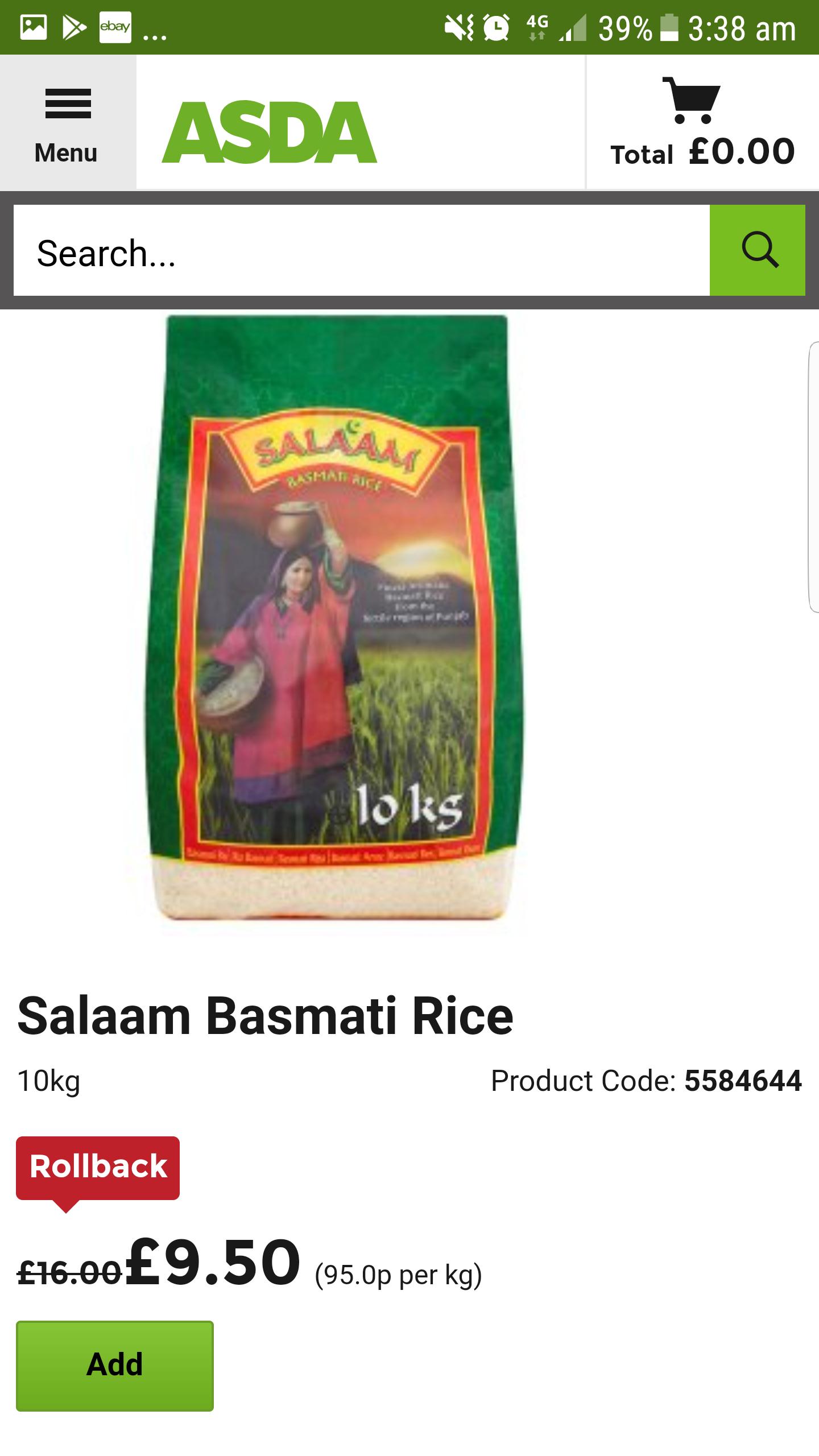 Salaam Basmati rice 10kg - £9.50 @ ASDA