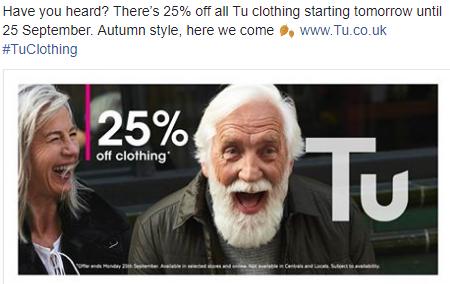 Sainsbury's 25% off TU Clothing Sale on NOW