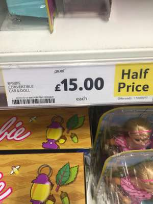 Barbie convertible car and doll £15 @ Tesco instore - widnes