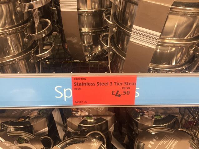 Crofton 3 Tier Steamer - reduced to £4.50 in store @ Aldi