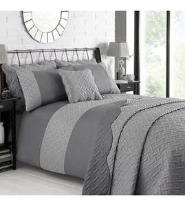Two-Tone Geometric Quilted Duvet Set £16.98 delivered @ Studio