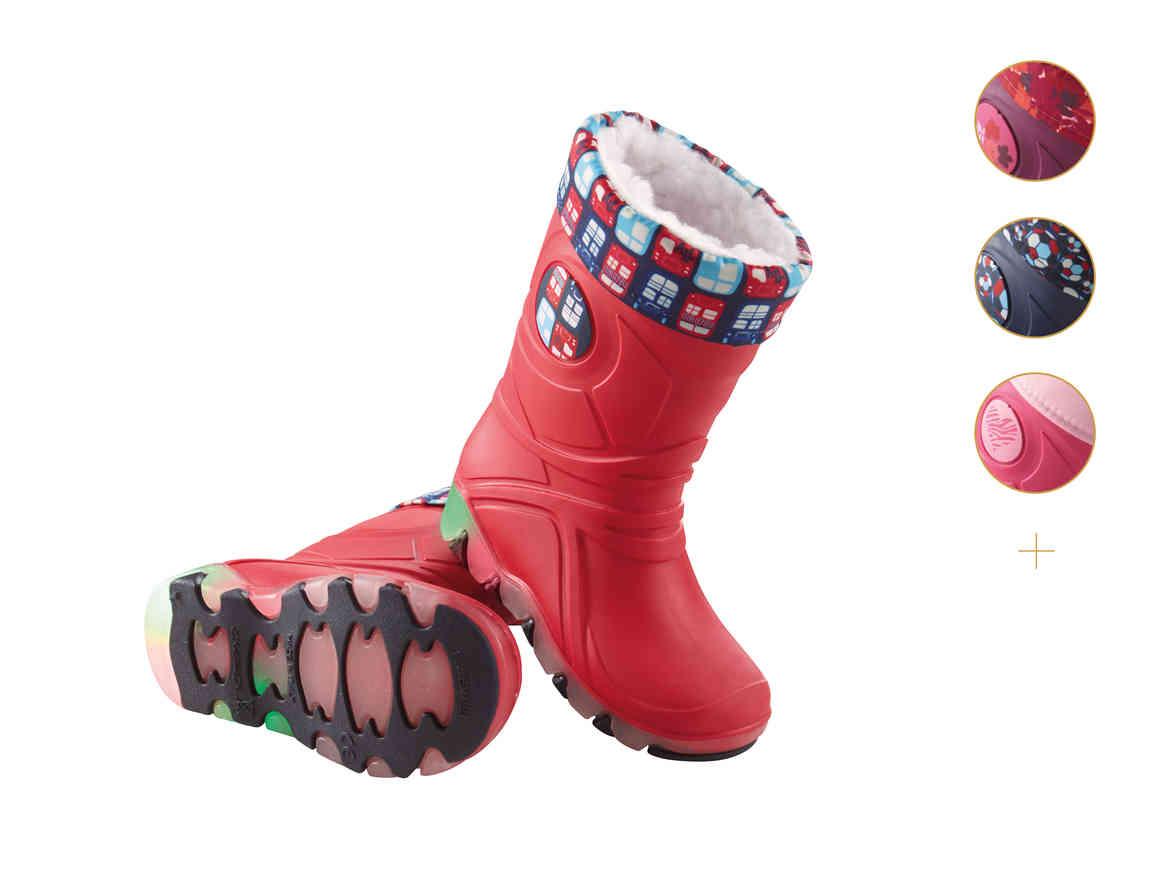Kids Light-Up Wellington Boots £7.99, Fleece lined waterproof jacket £7.99, Waterproof Trousers £5.99 @Lidl 21/09