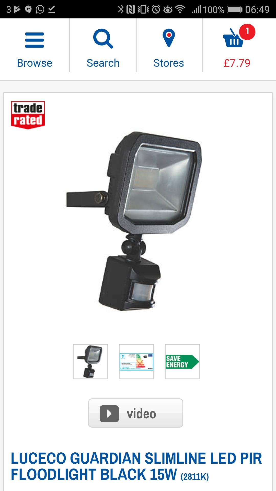 LED Floodlight 15W - £7.79 from Screwfix (Warm White)