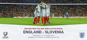 England vs Slovenia tickets - £10.00 - NUS/FA