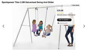 Sportspower Titan 2.2M Galvanised Swing And Glider £37.95 delivered - Sportspower Titan 2.2M Galvanised Double Swing £42.95 delivered @ Asda George