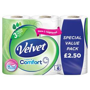 Velvet Comfort 6 Toilet Rolls (2.50 Price Marked Pack) Now ONLY £2.00 @ Iceland