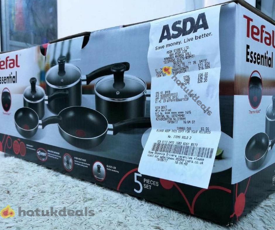Tefal Essential 5 Piece Non-Stick Cookware Set - £15 Instore @ Asda