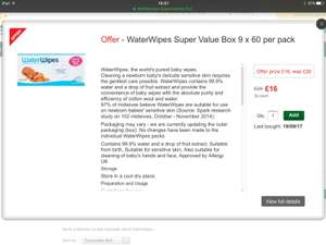 WaterWipes Super Value Box 9 x 60 per pack £16 @ Morrisons