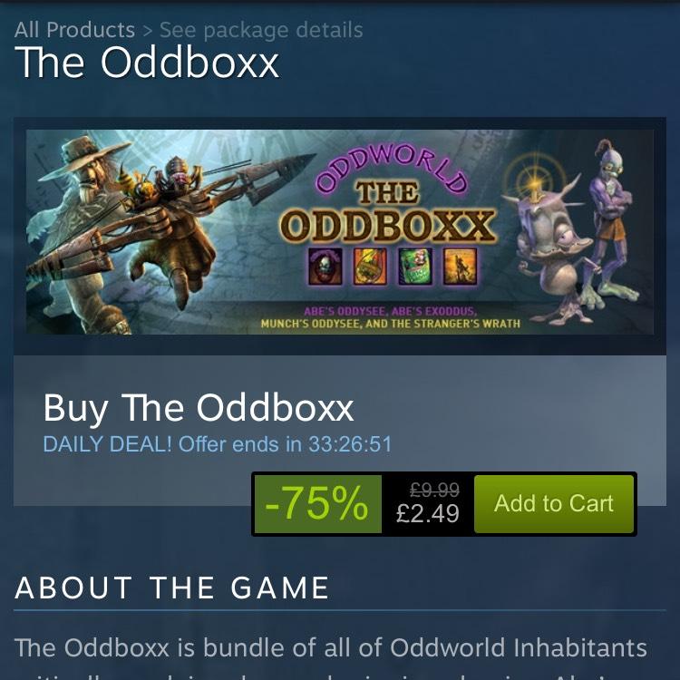 The Oddboxx (Abe's Oddysee, Abe's Exoddus, Munch's Oddysee & Stranger's Wrath) £2.49 - Steam - 75% off