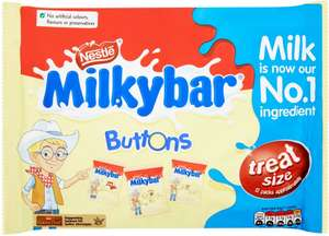 Milkybar Buttons Minis (12 Pack = 189g) was £2.50 now £1.25 @ Tesco