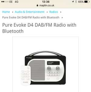 Pure Evoke D4 DAB/FM Radio with Bluetooth - £54.99 @ Maplin