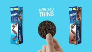 Oreo Original Vanilla or Chocolate Creme Thins (96g) Offer price 50p, was £1.08 @ Morrisons