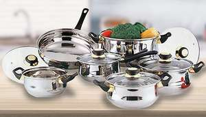 12-Piece Stainless Steel Pan Set - £23.98 Delivered @ GoGroopie