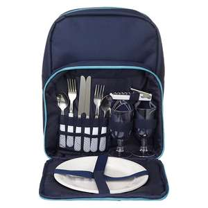 John Lewis Picnic Hamper Backpack + plates + cloth napkins + wine goblets + cutlery + 1 waiter's friend​ £12 including c+c (was £40) -  also Wine Cooler Bag inc items £8