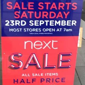 Next Sale in stores Sat 23rd Sept - Now live