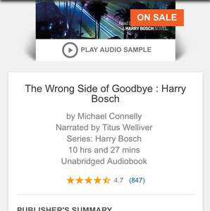 Michael Connelly Wrong Side of Goodbye £2.99 via Audible app