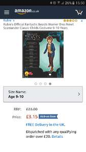 Fantastic Beasts Newt Costume Official age 9-10 Amazon add on item £3.15 was £23.99
