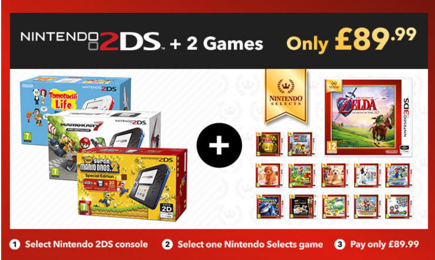 Nintendo 2DS + 2 Games @ Nintendo Store - £89.99