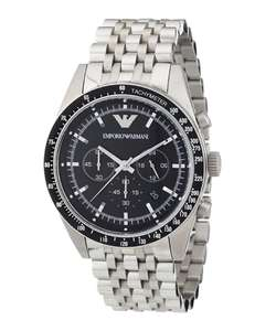 Emporio ArmaniBlack & silver-tone steel logo watch £119 @ Secret sales