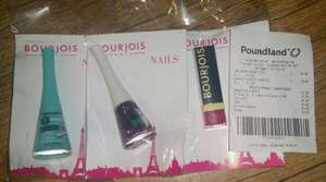 Bourjois Makeup Items - 1 Seconde Texture Gel Silicone Nail Varnish, Manicure Laser Toppings Or Shine Edition Lipstick, £1 In Store @ Poundland