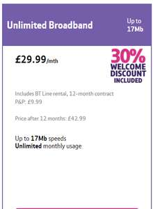 Unlimited Broadband for £29.99 per month including line rental plus get a £60 reward card £369.87 including p&p @ BT