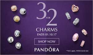 3 for 2 on Pandora charms  (Eg 3 charms from as little as £20) @ John Greed Jewellery