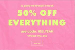 50%  off EVERYTHING ON MISSGUIDED