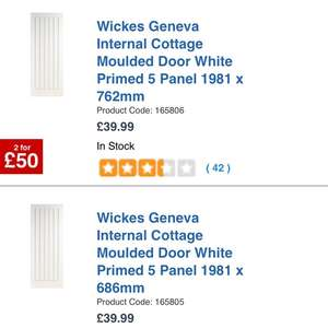 2 for £50 for internal moulded doors @ Wickes