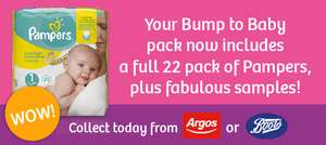 Free mum to be gift pack + Free bump to baby gift pack + Free new family gift pack - Pickup up at Argos or Boots e.g. includes full pack of 22 Pampers nappies plus other freebies