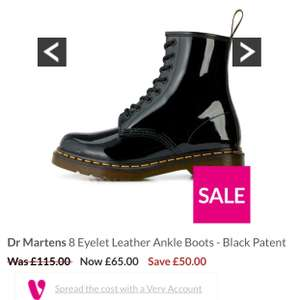 Dr Martens 8 Eyelet Leather Ankle Boots - Black Patent £65 (fee c&c) ALL SIZES in stock £65 was £115 @ very