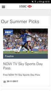 Free NOW TV Sky Sports Day Pass with HSBC Advance account