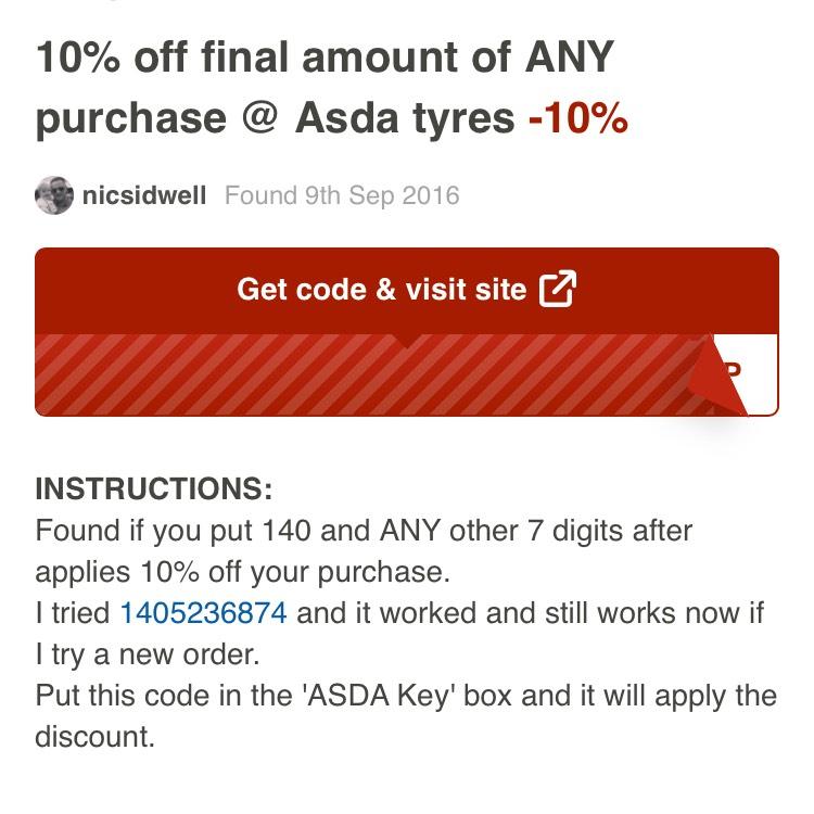 10% off ASDA TYRES