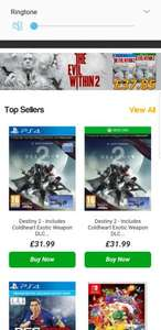 Get £6 at CEX: buy Destiny 2 at simplygames.com for 31.99 and take it straight into CEX and either sell it for £35 or get a voucher for £38.