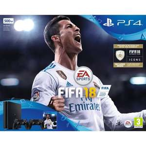 PS4 500GB Black Console + FIFA 18 + Extra Dualshock 4 Wireless Controller £229.99 // PS4 1 TB + FIFA 18 £229.99 // PS4 Pro 1 TB Console + FIFA 18 £349.99 @ Amazon / Tesco Direct / Smyths / ShopTo / Game