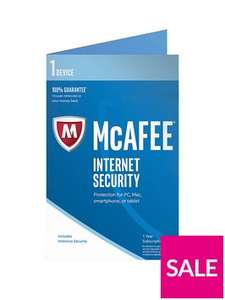 McAfee 2017 Internet Security 1 Device for £12.99 - Very