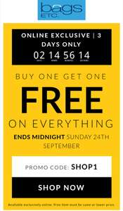 Buy one get one free on everything is back again at Bags Etc for 3 days BOGOF