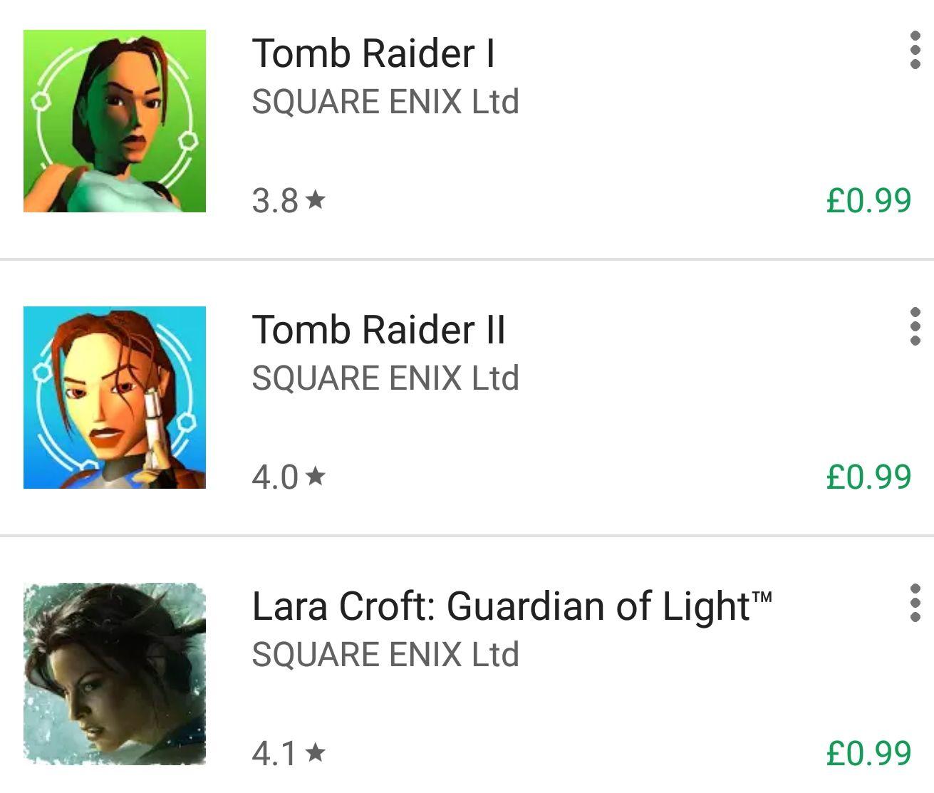 Tomb Raider 1, 2 & GOL - 99p each @ Google Play Store