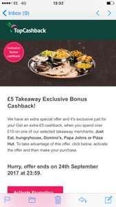 Top cash back are giving £5 back on take away orders over £10.
