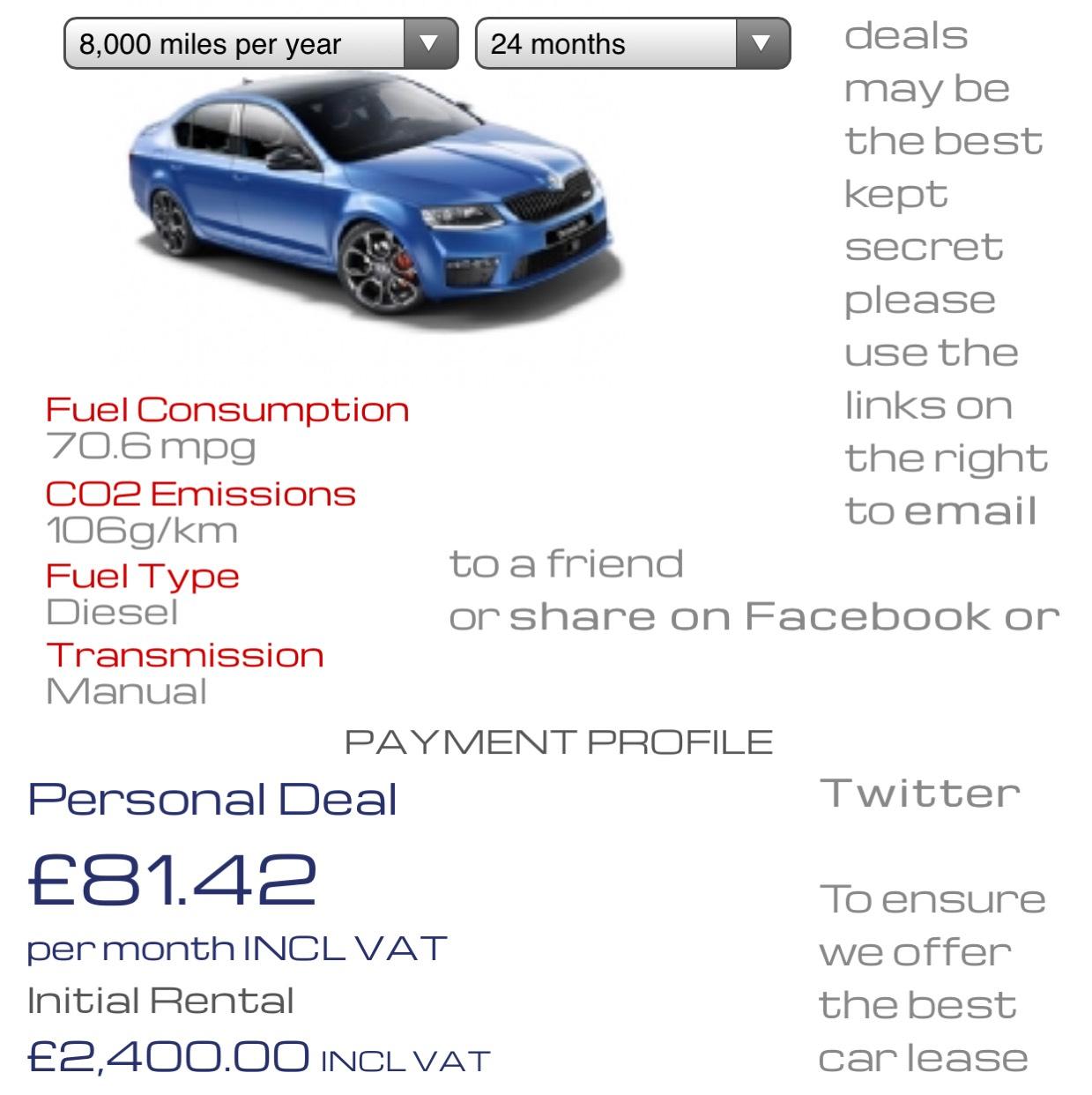 Skoda Octavia 2.0 TDI CR SE TECH Lease £2400 Deposit, £81.42 x 23 £239.99 admin fee Total £4,512.65 at NVS