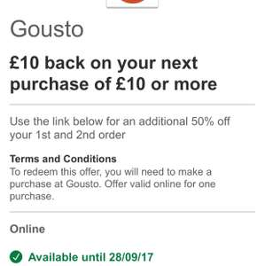 £10 cash back on purchases of £10 or more PLUS 50% off your first and second order at Gousto via Visa offers with any HSBC account