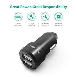 RAVPower Dual USB Car Adaptor (4.8A/24W, iSmart Charging, Built-in Safety Protection)  - £2.99 Prime / £6.98 non prime using code @ Amazon /  Sunvalleytek-UK