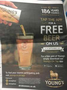 Free pint of beer from Young's