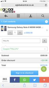 Samsung note 8 for £678.99 at eglobal central