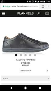 Lacoste trainers at Flannels for £30 (£5.99 standard delivery)